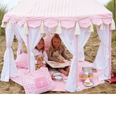Rosy Pink Play Pavilion for the girls. This would be great to do in bright circus tent colors!