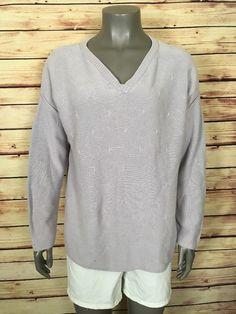 J. Jill crewneck sweater Womens size M 100% cotton lilac casual work #JJill #Crewneck #Work