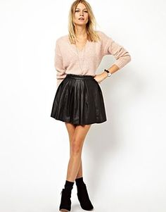 Leather look Skater Skirt