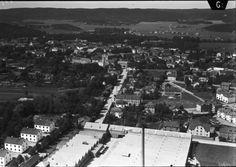 Alingsås Vy 1935 över vimpeln in mot stan. Innan motorvägen var byggd.