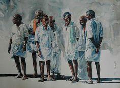 One of my pleasant surprises was to find Rajkumar Sthabathy's watercolor art works on internet. Rajkumar Sthabathy's is an Indian Artist wh. Watercolor Artists, Watercolor Portraits, Watercolour Paintings, Watercolors, Painting People, Figure Painting, Figure Drawing, Interior Paint Colors, Interior Painting