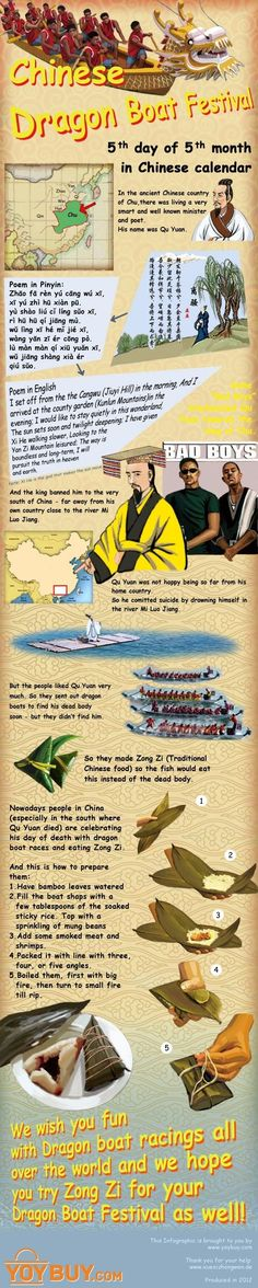 Chinese Dragon Boat Festival: Legend, Customs And Food. (Note that mandarin pronunciation is included in the infographic) #dragonboatfestival