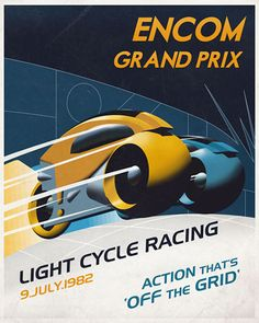 """The """"ENCOM Grand Prix"""" limited edition TRON poster (Canvas or Paper) by Steve Thomas will be going up for sale on December 17 at Acme Archives. Cool Posters, Travel Posters, Film Posters, Tron Art, Tron Light Cycle, Steve Thomas, Branding, Poster Pictures, Science Fiction Art"""