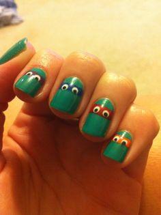 I did Ninja Turtles nails for my boyfriend's birthday today! Whatcha think?!