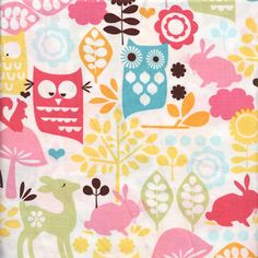 1/2 yard Forest Life  : Watermelon Pink Yellow Owls Squirrels Kids Fabric Michael Miller Designer Quilt Fabric Half Yard on Etsy, $4.50