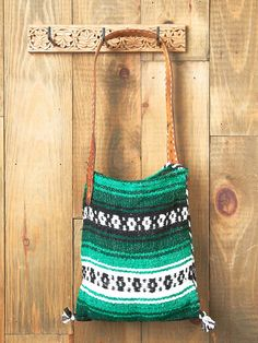 add a leather strap to a mexican blanket bag