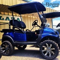 Let your cart shine with a new royal blue paint job and chrome wheels.