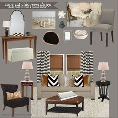 Anne Curry Dining and Living Room | Copy Cat Chic Room Designs | High style and higher end Living/Dining Room combo for under $4000 using clients sofa, leather ottoman, dining chairs & console table.