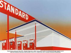 Edward Ruscha (American, born 1937) - Standard Station (E. 5), 1966 - Screen-print in colors on commercial buff paper, signed in pencil, dated and numbered 33/50 (and 2 artist's proofs), 19 3/4 x 37 in.. sheet 25 5/8 x 40 in. Courtesy of Bonhams & Butterfields.