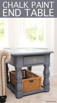 Old violet chalk paint end table makeover. Love the blue gray color, especially mixed with dark wax!