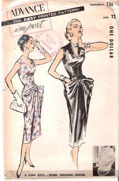 Advance 126 Vintage Nina Ricci Designer Sheath Dress with Hip Drape Sewing Pattern Sz 12 Vintage Dress Patterns, Clothing Patterns, Vintage Dresses, Vintage Outfits, Retro Fashion, Vintage Fashion, Patron Vintage, Moda Vintage, Mode Inspiration