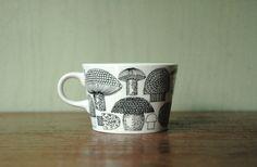 Finel Kaj Franck Mushroom Tea Cup -  Rare Mushroom Pattern Arabia of Finland Cup on Etsy, Sold
