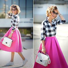 #women #fashion #womenfashion #pink #checkedshirt #shirt #skirt #trainers #outfit #look