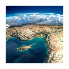 Art Print: Fragments of the Planet Earth. Fragments of the Planet Earth. Cyprus, Syria and Turkey by Antartis : Turkey Art, Earth From Space, Cyprus, Mother Earth, Places To Travel, Clouds, Art Prints, World, Framed Artwork