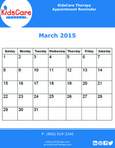 Use this March 2015 calendar to plan out your Speech, Physical, or Occupational therapy for the month!