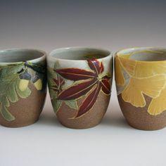 #CAPCA | JC Niehaus Pottery | Handmade stoneware yunomi: Acorn & Oak, Maple Leaf,Ginkgo Leaves in a Japanese/ Craftsman style