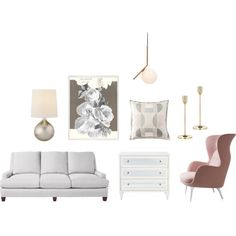 the start of something very feminine.. by sarahswansondesign on Polyvore featuring interior, interiors, interior design, home, home decor, interior decorating, Serena & Lily, Flos, AERIN and Skultuna