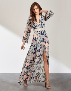 Lost Ink Sketchy Floral Maxi Dress