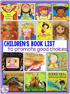 Children's book list to teach making good choices and good character Pocket of Preschool is part of Character education - Preschool Books, Preschool Classroom, Book Activities, Preschool Behavior, Sequencing Activities, Preschool Crafts, Social Emotional Learning, Social Skills, Social Work