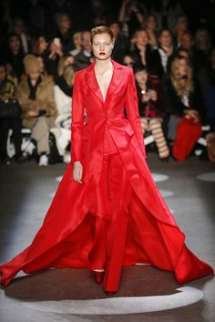 Positively Chic Red Pant Suit with a Matching Red Long Coat - Christian Siriano, Look #49