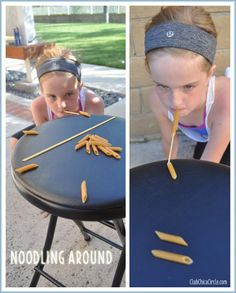 Noodling Around Objective: Using a long piece of spaghetti in your mouth, stack 6 penne pasta in a row in 60 seconds or less.