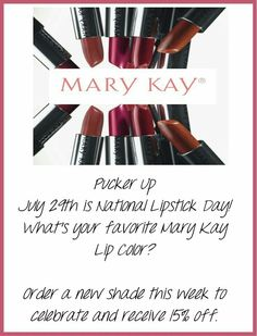 July 29 is National Lipstick Day Which Mary Kay lip color will you wear to celebrate? Order this week and get off. Imagenes Mary Kay, National Lipstick Day, Selling Mary Kay, Mary Kay Party, Halloween Contacts, Mary Kay Cosmetics, Love Your Skin, Beauty Consultant, Mary Kay Makeup