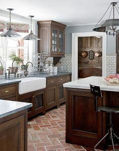 Kitchen Ideas Dark Wood Cabinets.A Modern Farmhouse Kitchen House Pinterest Farmhouse Kitchen