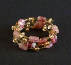 Vintage Pink Glass Beaded Wrap Bracelet