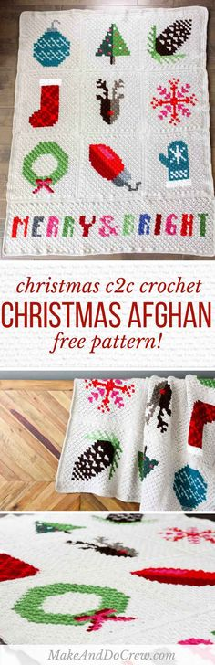 Make an heirloom your family can snuggle up with year after year with this free corner to corner crochet Christmas afghan pattern! These modern c2c Christmas graphs make perfect winter pillows too. Crocheted with Lion Brand Vanna's Choice yarn. via @makeanddocrew