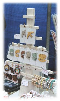 unique display tree with nails and pegs. Craft booth @ Swanmarket #craftymarket