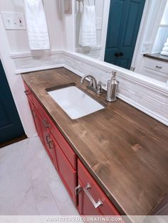 My Six DIY Countertops (Pros and Cons Of Each, and How They Rank For Kitchen Countertops) - Addicted 2 Decorating® wood countertops My Six DIY Countertops (Pros and Cons Of Each, and How They Rank For Kitchen Countertops) - Addicted 2 Decorating® Wood Countertops Kitchen, Kitchen Remodel, Kitchen Countertops, Tiled Countertop Bathroom, Tile Countertops Kitchen, Bathroom Countertops Diy, Diy Kitchen, Diy Countertops, Small Bathroom Makeover