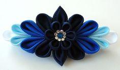 Kanzashi fabric flower french barrette. Blue kanzashi by JuLVa