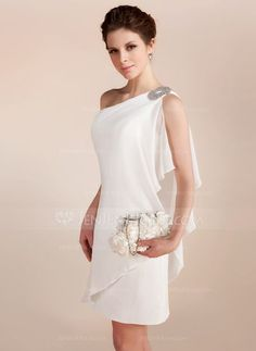 Sheath column one shoulder short mini chiffon wedding dress with beading cascading ruffles 002011748 24 bridal gowns with sleeves never fails to impress Beach Style Wedding Dresses, Wedding Dress Chiffon, Wedding Party Dresses, Bridesmaid Dresses, Cute Dresses, Beautiful Dresses, Mode Outfits, I Dress, Designer Dresses