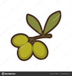 Cartoon green three branch olive tree sign — Stock Illustration #133146054