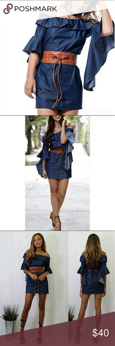 SALE!!! NEW Dark blue denim dress Dark blue denim dress with belt!! Dresses Mini