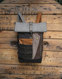 Beige upcycled roll top rucksack using lapel from men's suit and the back part from a corduroy men's trousers, by 'eating the goober'