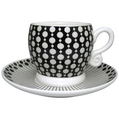 Neisha Crosland Boule Espresso Cup and Saucer - Donkey and Black found on Polyvore