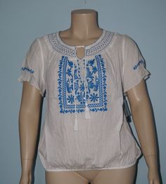 Style&Co. NWT 1x Blue Embroidered S/S Keyhole Tassel Tie Peasant Gauze Shirt Top #Styleco #Blouse #Casual