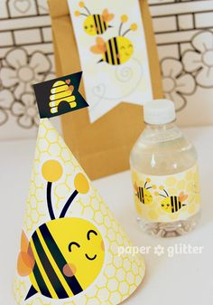 Bee Bumble Bee Printable Party Kit yellow black by paperglitter, $14.95