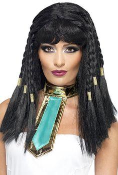*werbung | Geflochtene Perücke mit Pony, Perücke mit Goldverzierung, Kleopatra Perücke für Damen. Tolle Verkleidung für Karneval oder Mottoparty zum Thema altes Ägypten. Königliche Verkleidung, die für Aufsehen sorgen wird... #karneval #fasching #cleopatra #kostüm