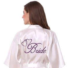 I like the white satin with the purple letters, but I'm still looking for her size.