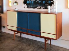 Danish Modern Teak Sideboard with Bar