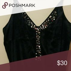 Express women's large silk sequin chemise Barely worn, stunning silk chemise top. Slightly long, hits about hip level at the hem. Adjustable straps, and the sequins shine just as bright as when I bought it. I likely wore this less than ten times, and I keep my clothing immaculate. Open to offers! Measurements upon request. Express Tops Camisoles