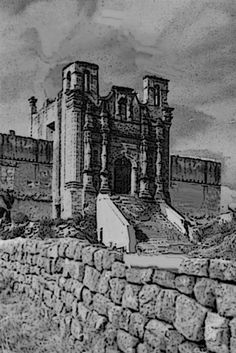 Obispado como lucía durante la Batalla de Monterrey de 1846.