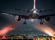 Glittering night aircraft photos