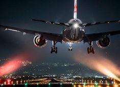 Glittering night aircraft photos