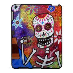 "DAY OF THE DEAD IPAD CASE "" TEQUILA SHOT"" day of the dead, skull,dia de los muertos, calavera, painting, prints, sale, prisarts, pristine,cartera,turkus,mexican,folk,art,artist,TEQUILA,SHOT"