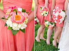 coral peony bridal bridesmaids bouquet