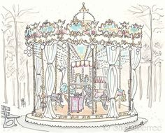 Carousel in Paris illustration - Jardins des Tuileries Carrousel - whimsical giclee print. $25.00, via Etsy.