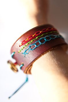 Embroidered Leather Cuff with vintage brass buttons by Monica Jacobson (TrimGoTrix)